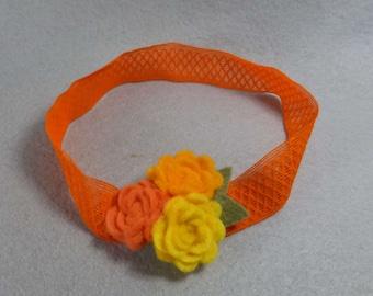 Baby Girl Headband - Orange Felt Flower Headband, Elastic Stretchy Headband, Baby Headband, Infant Headband, Womens Headband