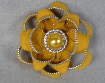Zipper Flower Brooch - Yellow Flower Pin, Upcycled, Recycled, Repurposed, Zipper Jewelry, Zipper Pin, Zipper Brooch, Zipper Art