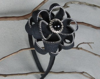 Black Flower Headband, Plastic Headband, Hard Headband, Girls Headband, Floral Headband, Flower Headpiece, Upcycled, Recycled, Repurposed