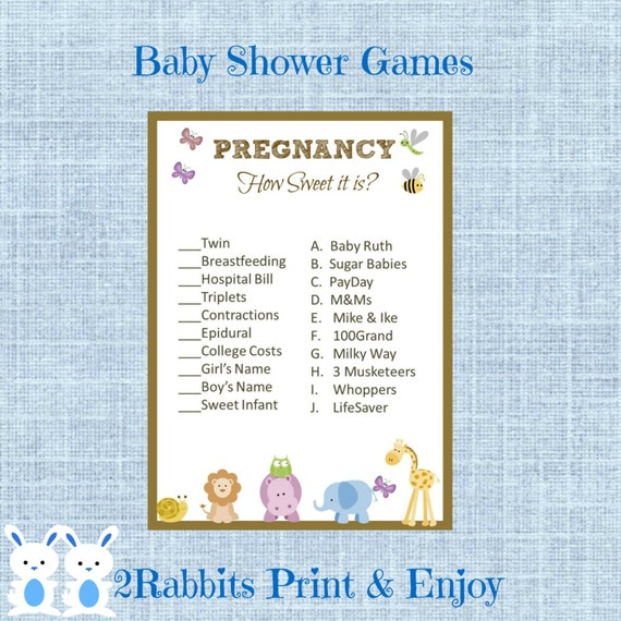 Sweet Sweet Baby Baby Shower Game: Jungle Safari Baby Shower Pregnancy How Sweet It Is Candy