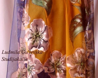 Shawl.Natural silk shawl - floral,cherry blossoms,  blue -orange hand painted shawl.
