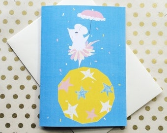 Mouse performer - blank greeting card