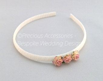Pink 3 Flower Headband, Wedding Headband, Flower Girl Hair Band, Wedding Hair Accessories for Bridesmaids, Christening, Birthday