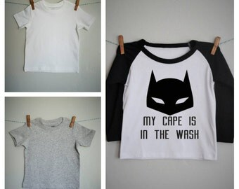 My cape is in the wash, boys raglan shirt, baseball tee, superhero shirt, boys superhero shirt, Batman shirt, 6 months- 6years