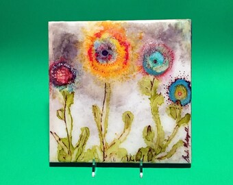 """Alcohol Ink Art Spring Flowers, An Original 8""""x8"""" Ceramic Tile, Hand Painted OOAK Alcohol Ink by YakiArtist"""