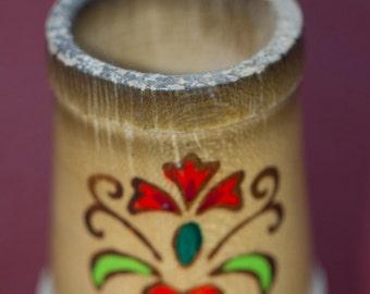 Bamboo Toothpick Holder - Folk Art Toothpick Holder
