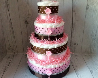 4-Tier Pink and Brown Diaper Cake Centerpiece, Baby Shower Centerpiece, Girl Diaper Cake Centerpiece