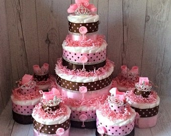 Girl Diaper Cake Centerpiece Set, Pink and Brown Baby Shower Diaper Cake