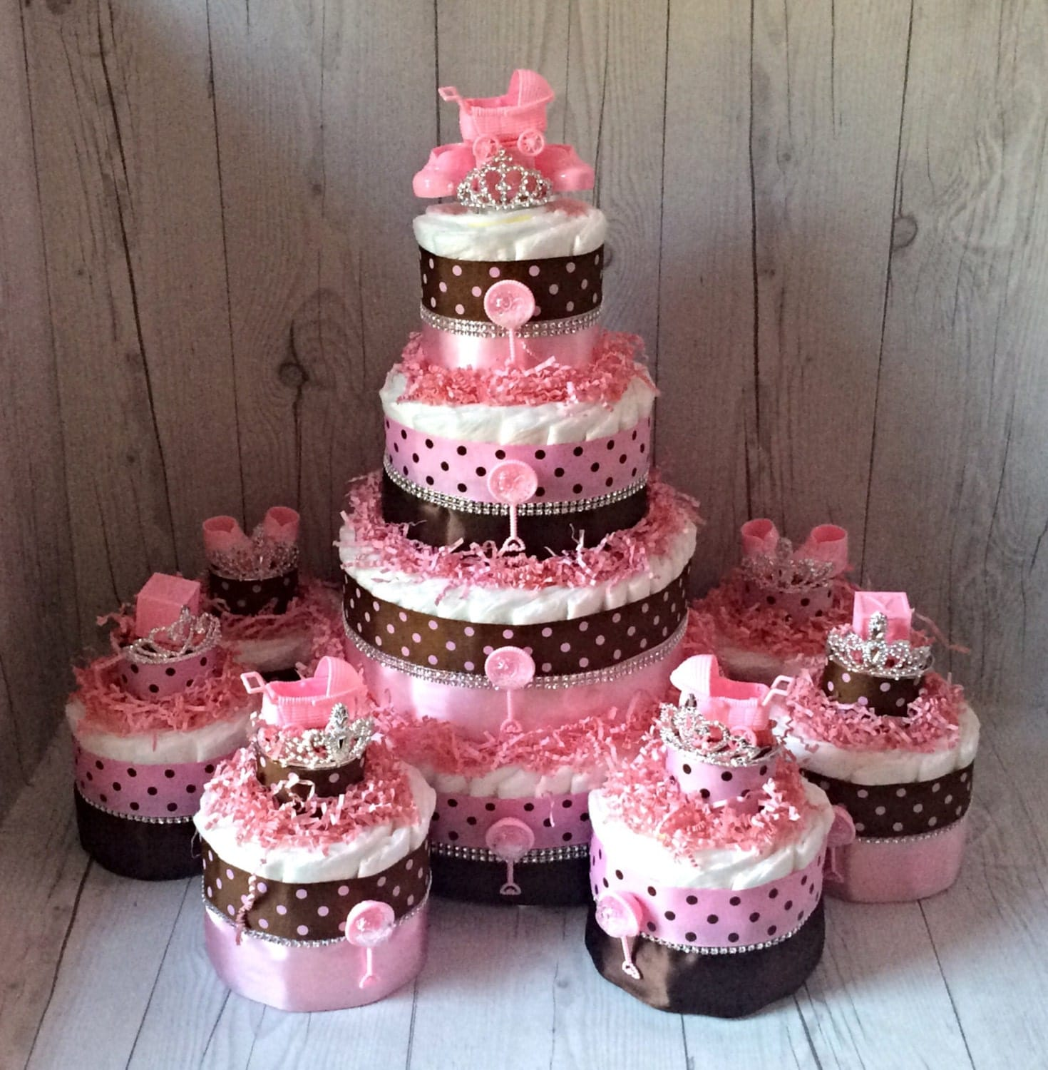 Girl Diaper Cake Centerpiece Set Pink And Brown Baby Shower