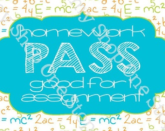 Brightly Colored Homework Pass