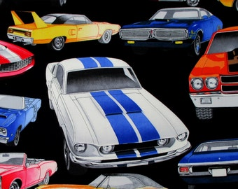 Fabric, Pure Muscle Cars, Classic Cars on Black, Alexander Henry Fabric, By the Yard