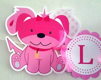 Puppy Banner, Dog Banner, Puppy Dog Banner, Pink Puppy Banner