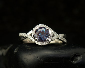 Kara Beth Ann - Alexandrite and Diamond Engagement Ring in White Gold, Round Brilliant Cut, Twisted Shank Design, Free Shipping
