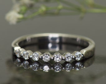 Diamond Wedding Band in White Gold, Single Shared Prong Setting, 0.25tcw, Closed Baskets, Traditional Style, Free Shipping, Brooke