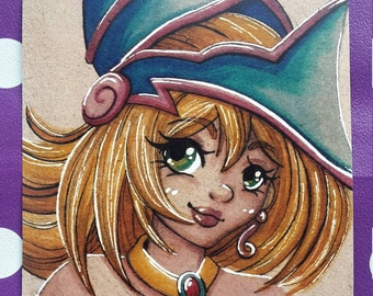 Dark Magician Girl inspired art card print (Size 7x5 inches)