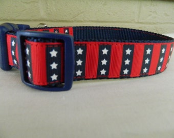 Patriotic Stars and Stripes Dog Collar