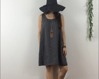 Linen Sundress / Above Knee / Sleeveless / Swing