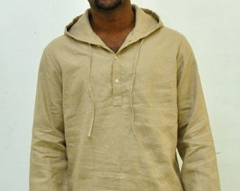 Mens  Half placket Hooded Style for Fall in Linen, Organic Cotton,  Plus size.