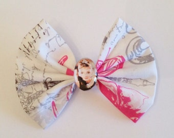 Audrey Hepburn Hair Bow, Actress Fabric Hair Bow