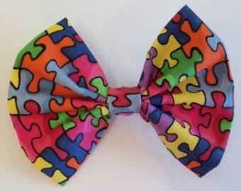 Puzzle Hair Bow, Puzzle Pieces Fabric Hiar Bow, Autism Awareness