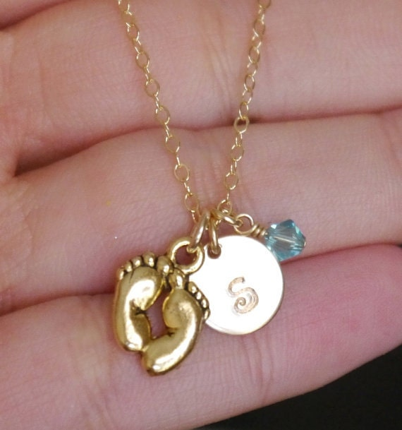 New Mom Gifts Baby Feet Necklace Personalized Initial