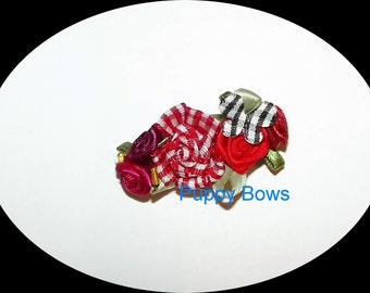 Puppy Bows ~Gingham flower butterfly RED hair bow clip Poodle peach daisies  barrette dog grooming