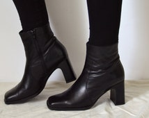 Black leather Ankle Boots Womens High heel Block chunky heeled 90s rocker goth Minimalist high fashion shoes UK 6 US 8.5 EU 39