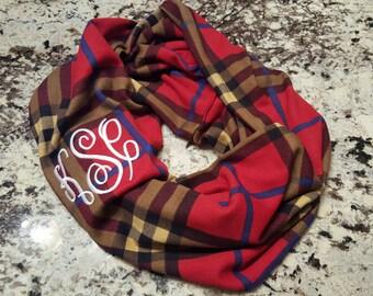 Monogrammed plaid infinity scarf