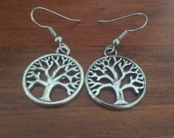 Tree of Life Dangle Earrings 20mm on Hypoallergenic Surgical Steel