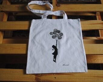 Handmade painted cotton bag  Banksy