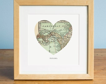 Map of Panama, Panama Heart Map, Panama Canal Map, Vintage Map, Antique Map Art, Personalized Map Art, Valentines Day