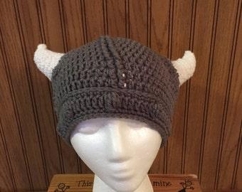 Large Child's Crochet Viking Hat