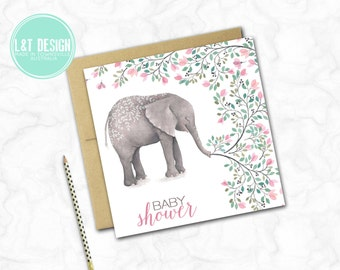 Sweet Elephant Baby Shower Card