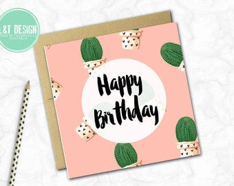 Birthday Card {PINK CACTUS}