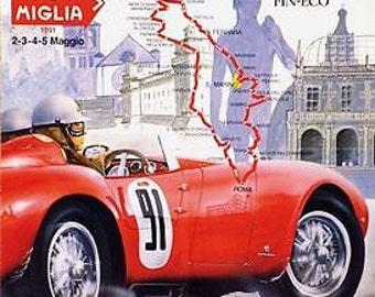 1991 Mille Miglia Italian Motor Racing Poster A3 Print
