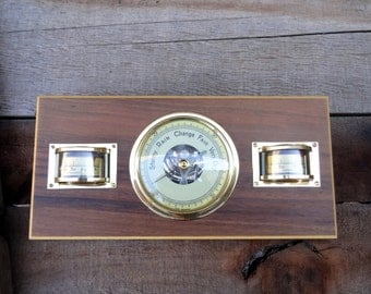 Vintage Wall Or Desk Barometer Weather Station With Brass Instruments, West Germany