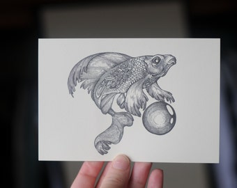 Goldfish Drawing, Goldfish Illustration, Goldfish Art, Detailed Goldfish Art, Goldfish Ink Drawing, Pen Drawing, Intricate Art, A6 Print