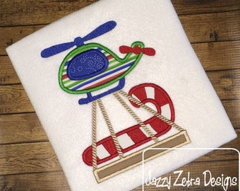 Helicopter with Candy Cane Appliqué embroidery Design - helicopter Appliqué Design - Christmas Appliqué Design - Candy cane Appliqué Design