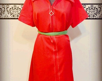 1960's Plus Size Mod Dress in Red Orange, Plus Size XL , Size 16/18 , Vintage Red Diner Dress, 60's Red Twiggy Dress, 60's Red Diner Dress
