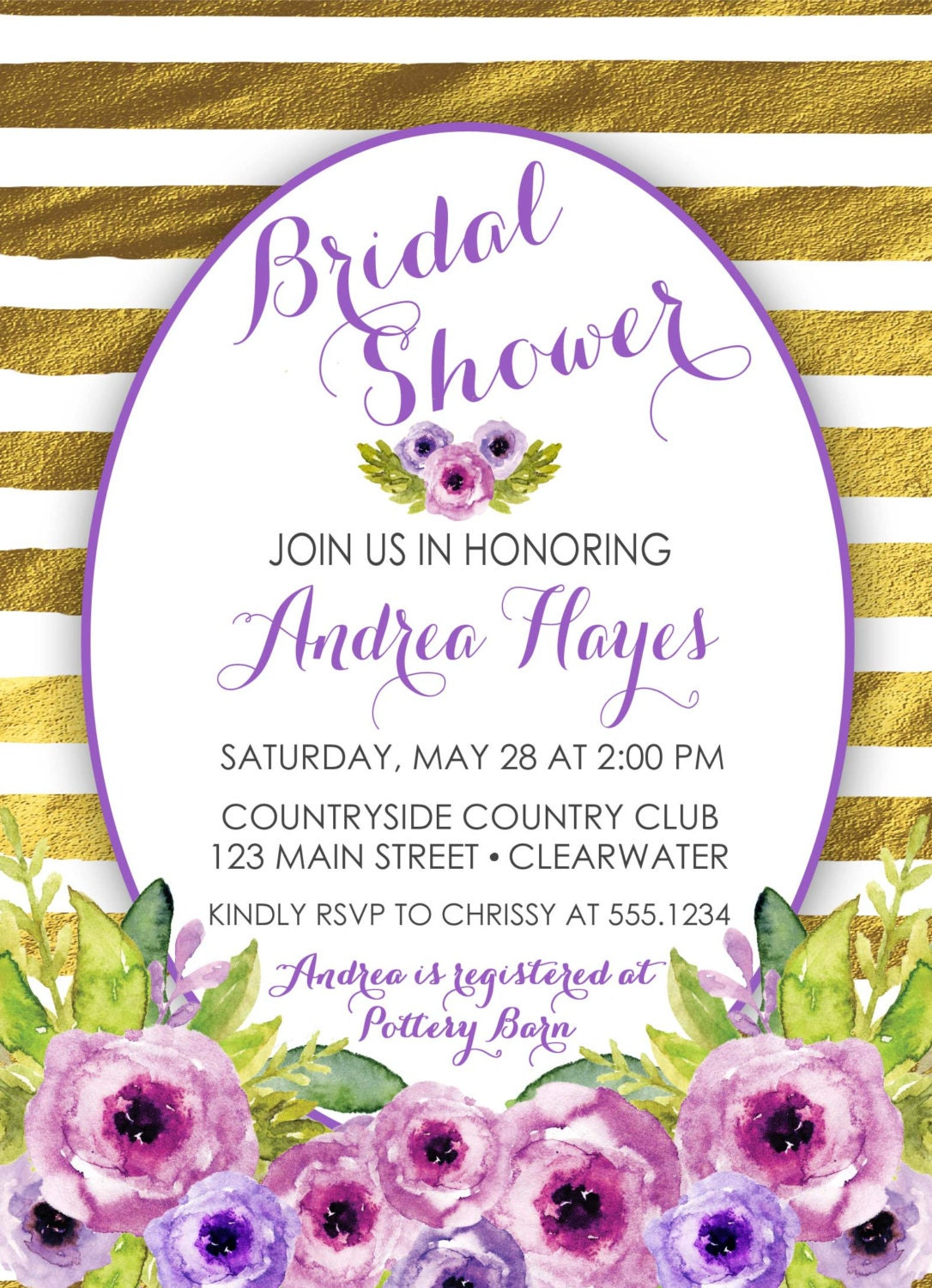 purple floral bridal shower invitation, purple and gold bridal, Bridal shower invitations