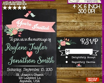 Chalkboard Wedding Printable Invitation and RSVP Card Personalized Digital File