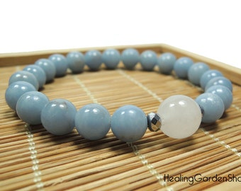 Stress Relief, Angel Communication Healing Energy Bracelet - Angelite Anhydrite and White Jade Bracelet, Reiki Infused