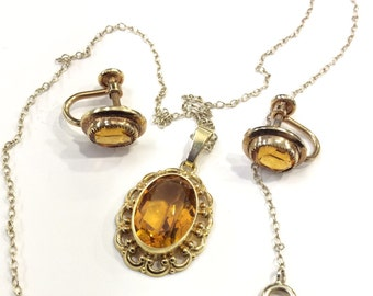 Citrine glass screw on earrings and pendant