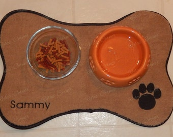 Dog Placemat Microfibre - Waterproof Feeding Dog Placemat - Feeding Station Placemat - Dog Embroidery Placemat - Waterproof Dog Placemat -