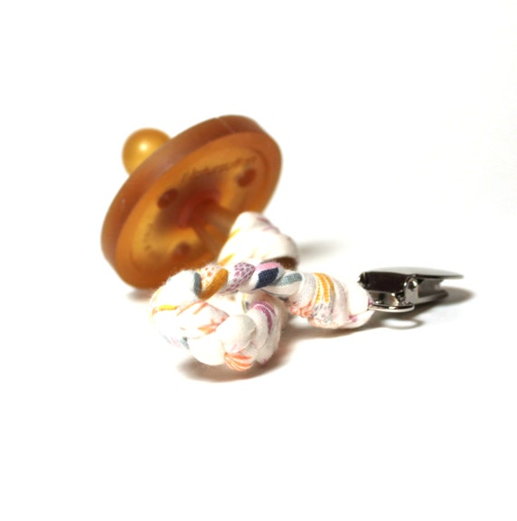 Braided Pacifier Clip / Cream Floral Braided Pacifier Clip / soothie / binky clip / pacifier holder