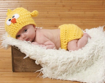 Newborn Halloween Costume, Baby Chick Costume, Chick Photo Prop, Newborn Chick Photo Prop, Baby Chick Outfit, Crochet Chick Set