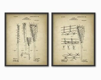 Lacrosse Stick Patent Print Set Of 2 - 1908 Lacrosse Design - Vintage Lacrosse Poster - Lacrosse Racket - Lacrosse Racquet - Lacrosse Player