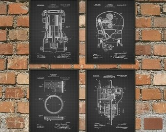 Chevrolet Patent Print Set Of 4 - Automobile Parts Design - Garage Mechanic - American Car Industry - Automobile Patent Design
