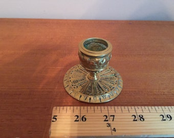1 Candle Stick Brass/Bronze with Decorative Pattern