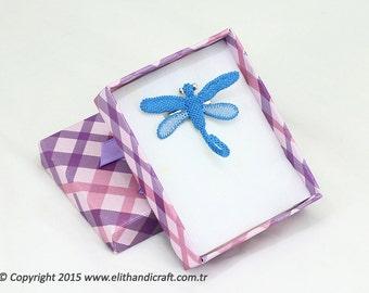 "Authentic Anatolian Needle Lace Pure Silk ""Dragonfly"" Brooch - Turkish Oya Needlework"